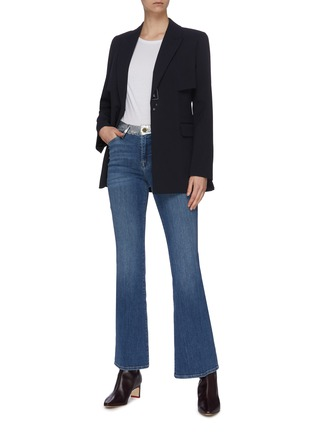 Figure View - Click To Enlarge - FRAME DENIM - 'Le Pixie High Flare' panel waistband jeans