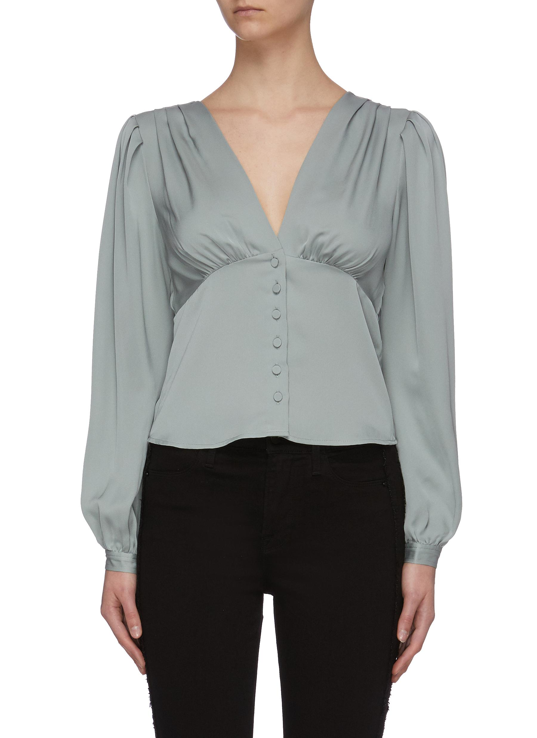 Buy Frame Denim Tops 'Empire' pleated V-neck top