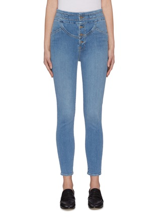 Main View - Click To Enlarge - FRAME DENIM - 'Sunrise' high rise skinny jeans