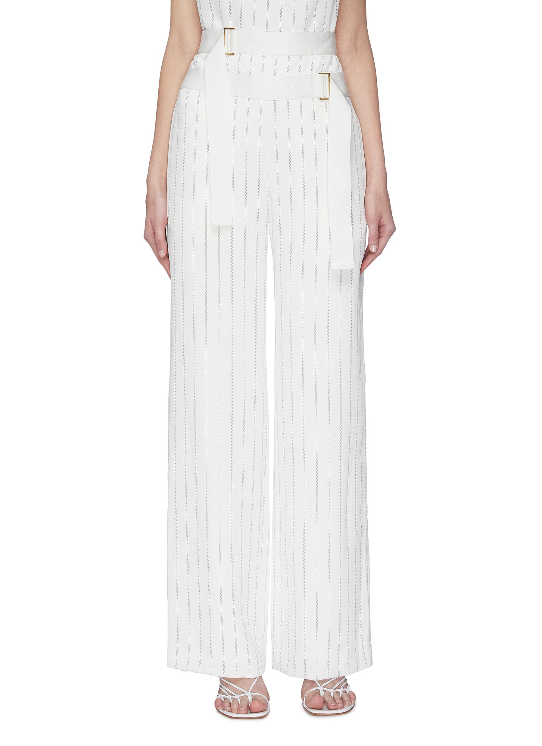 shop Dion Lee Double belted pin stripe pants online