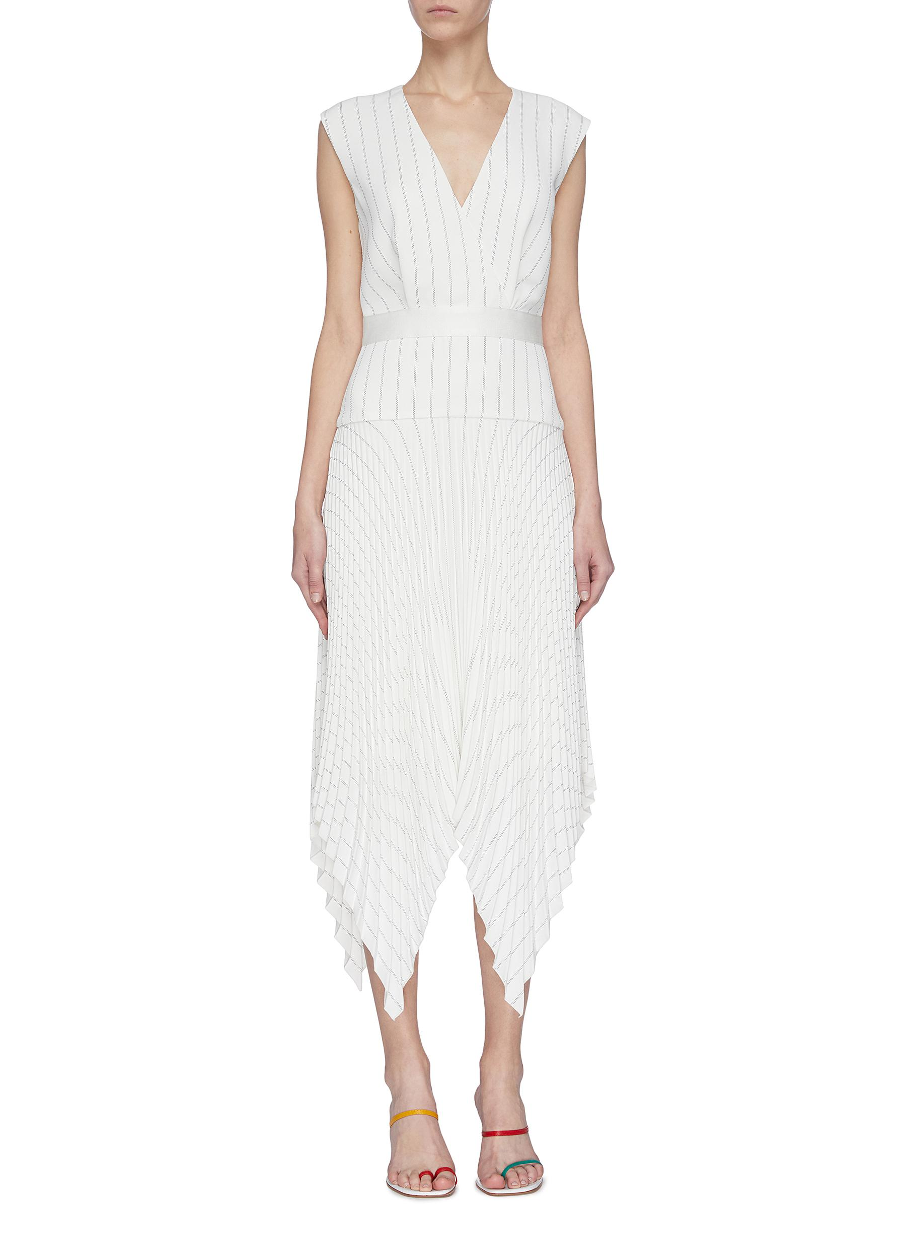 shop Dion Lee V neck pin stripe pleated handkerchief dress online