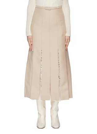 Main View - Click To Enlarge - GABRIELA HEARST - 'Edith' belted macramé godet pleated skirt