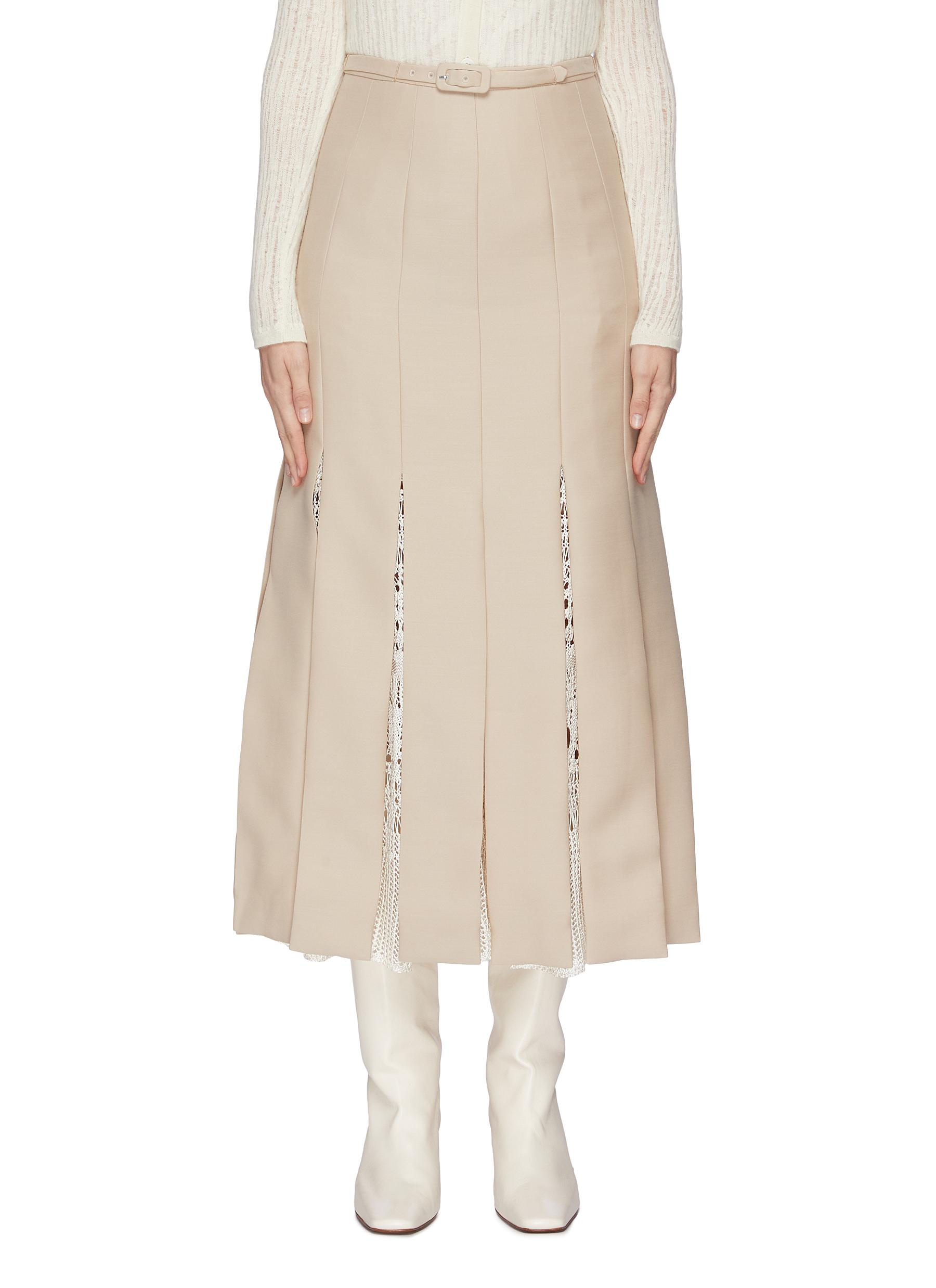 shop Gabriela Hearst 'Edith' belted macramé godet pleated skirt online