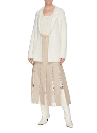 Figure View - Click To Enlarge - GABRIELA HEARST - 'Edith' belted macramé godet pleated skirt
