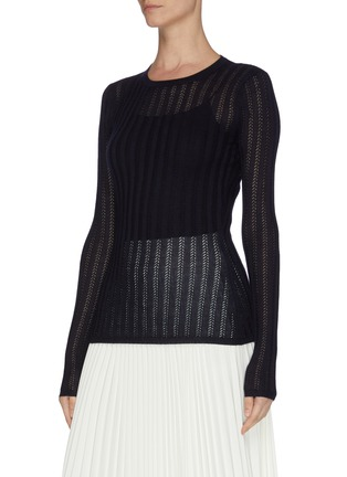 Front View - Click To Enlarge - GABRIELA HEARST - 'Collins' cashmere-silk blend rib knit top