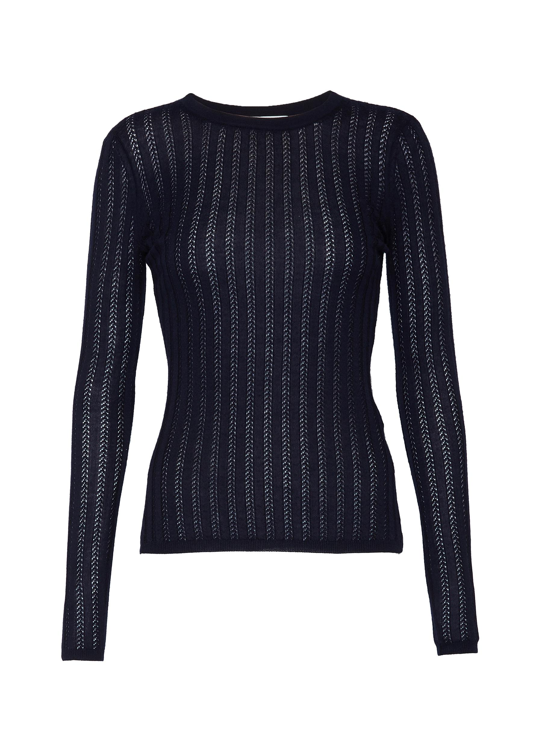 Buy Gabriela Hearst Knitwear 'Collins' cashmere-silk blend rib knit top