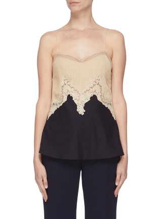 Main View - Click To Enlarge - GABRIELA HEARST - 'Smith' lace panelled camisole top