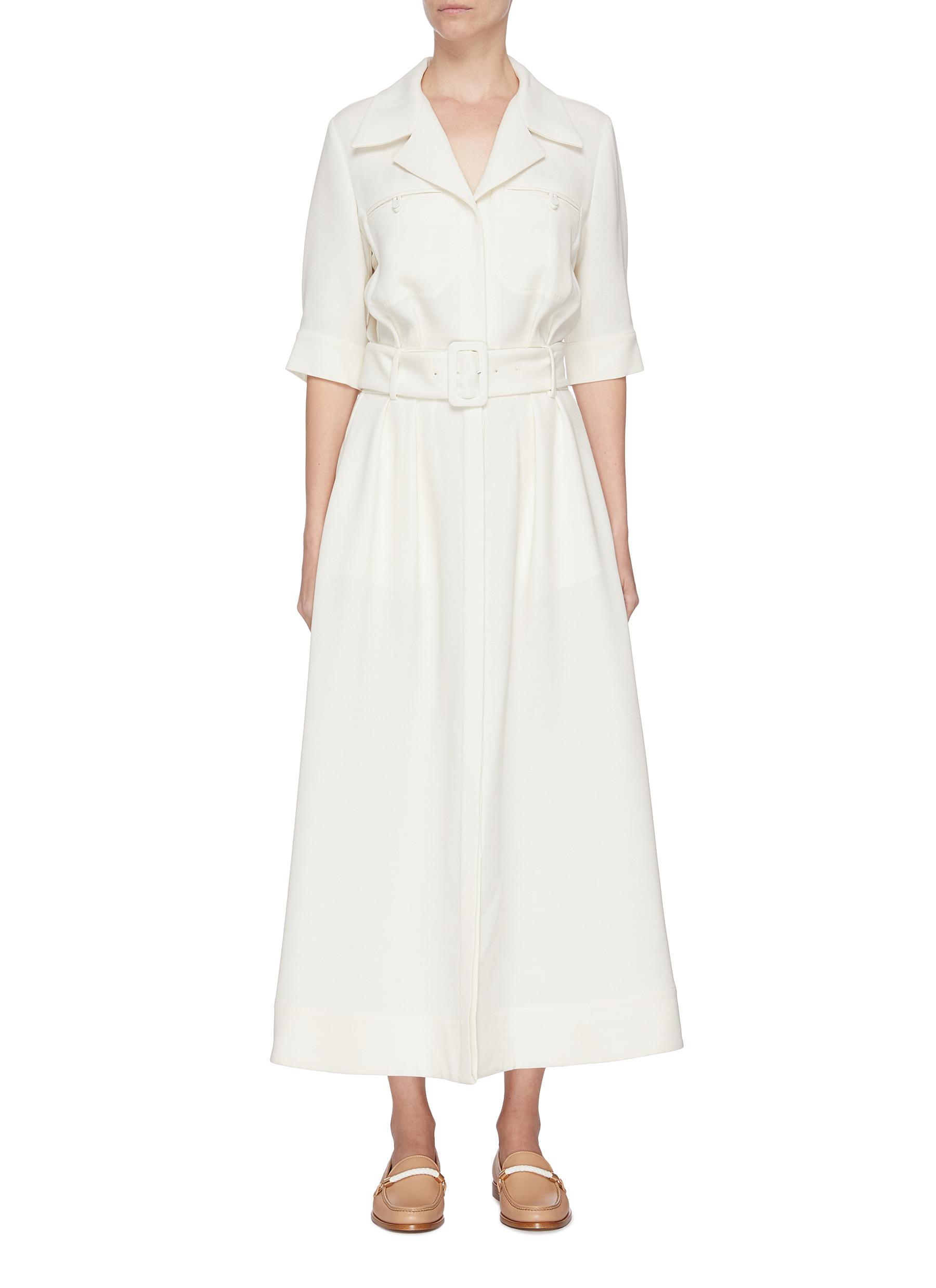 shop Gabriela Hearst 'Simone' belted virgin wool dress online