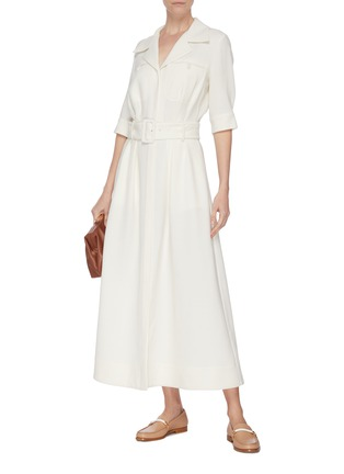 Figure View - Click To Enlarge - GABRIELA HEARST - 'Simone' belted virgin wool dress