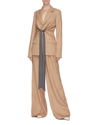 Figure View - Click To Enlarge - GABRIELA HEARST - 'Vargas' belted wide leg pants