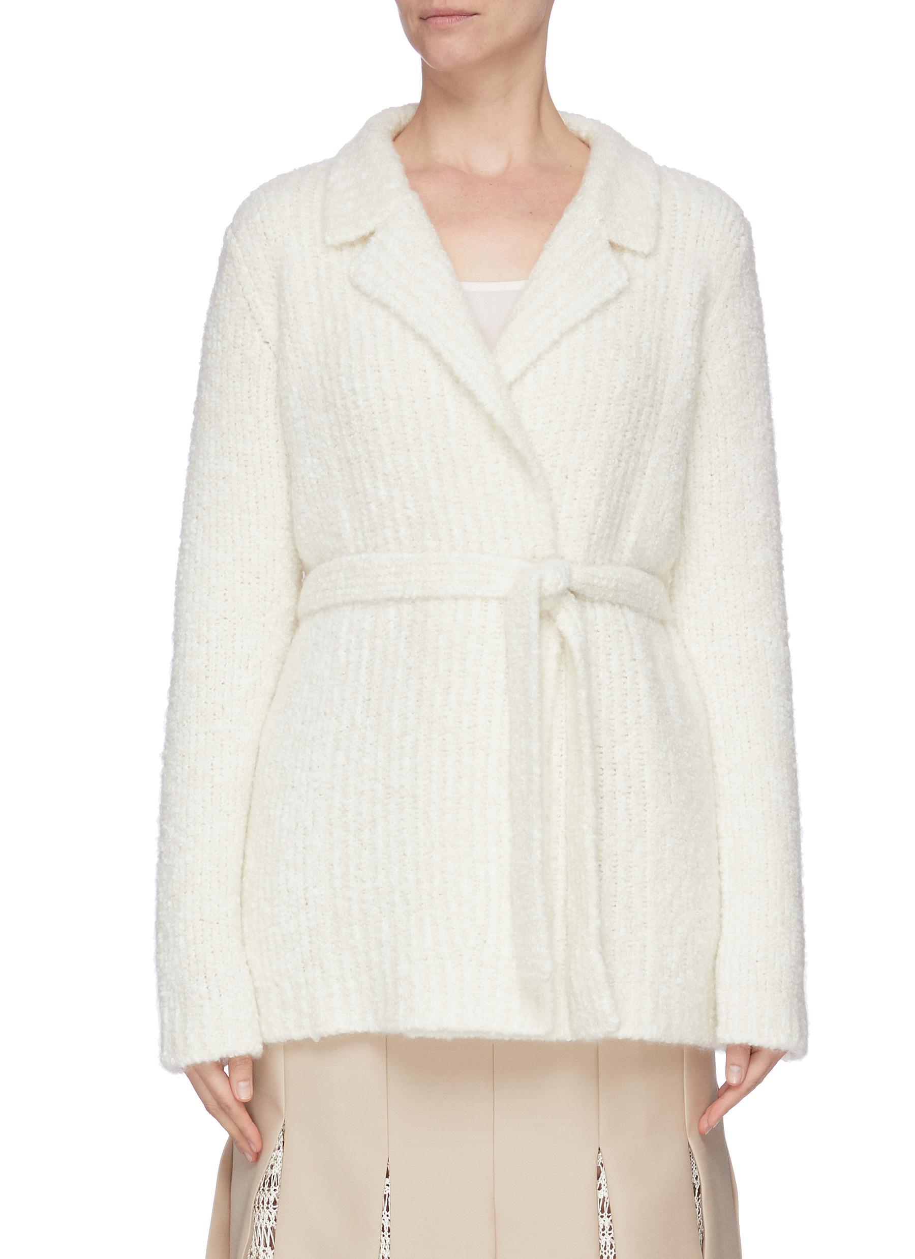 Buy Gabriela Hearst Jackets Belted brushed cashmere-silk wrap jacket