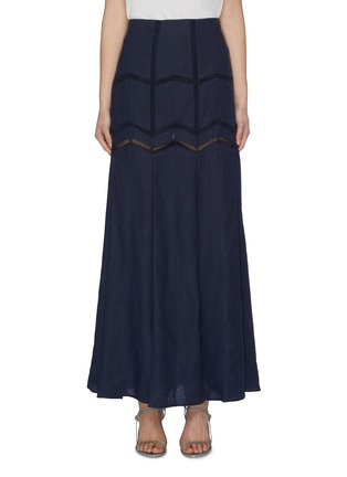 Main View - Click To Enlarge - GABRIELA HEARST - 'Aloe' herringbone panelled skirt