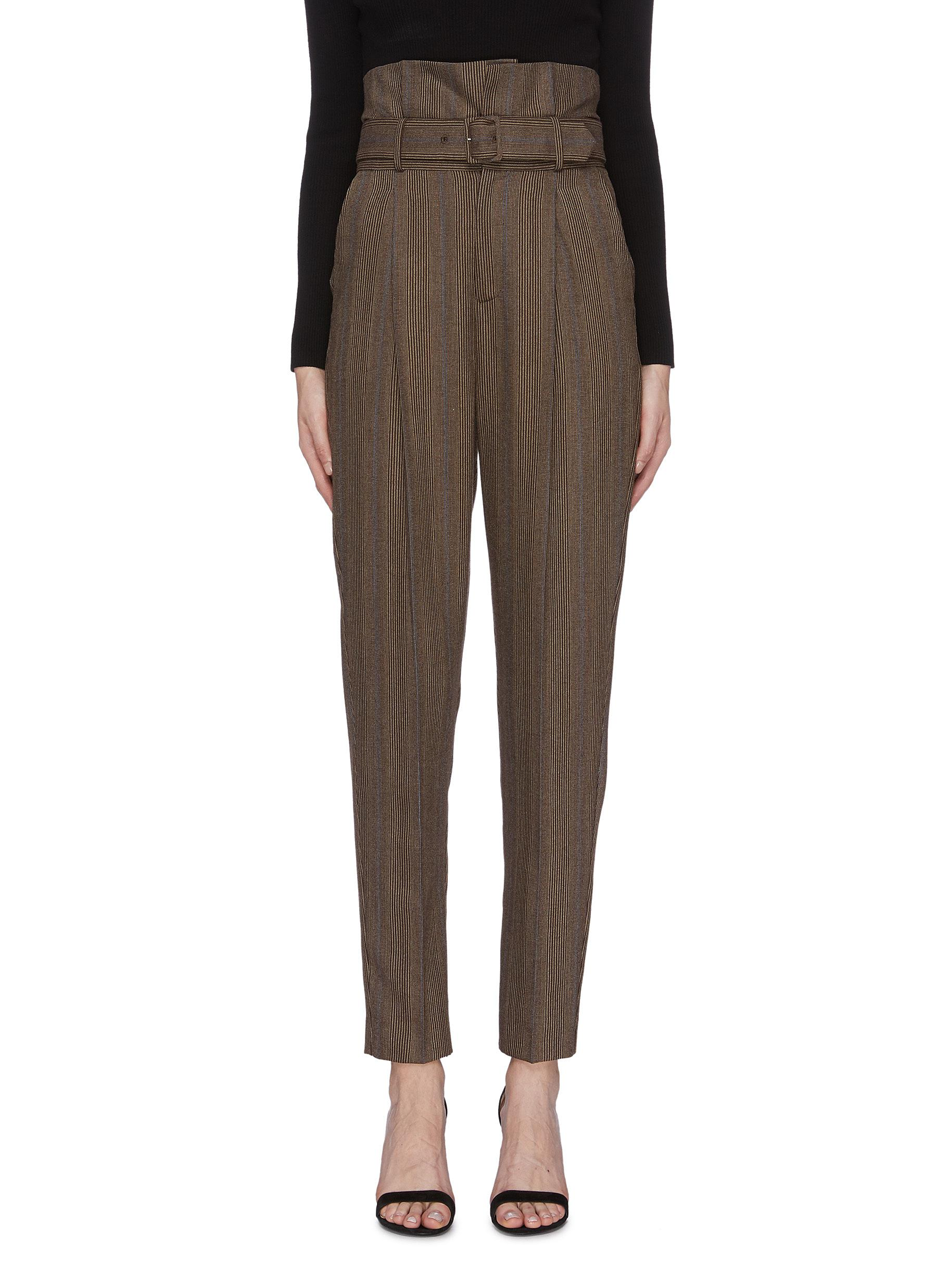 Alloisa belted pinstripe pants by Equipment