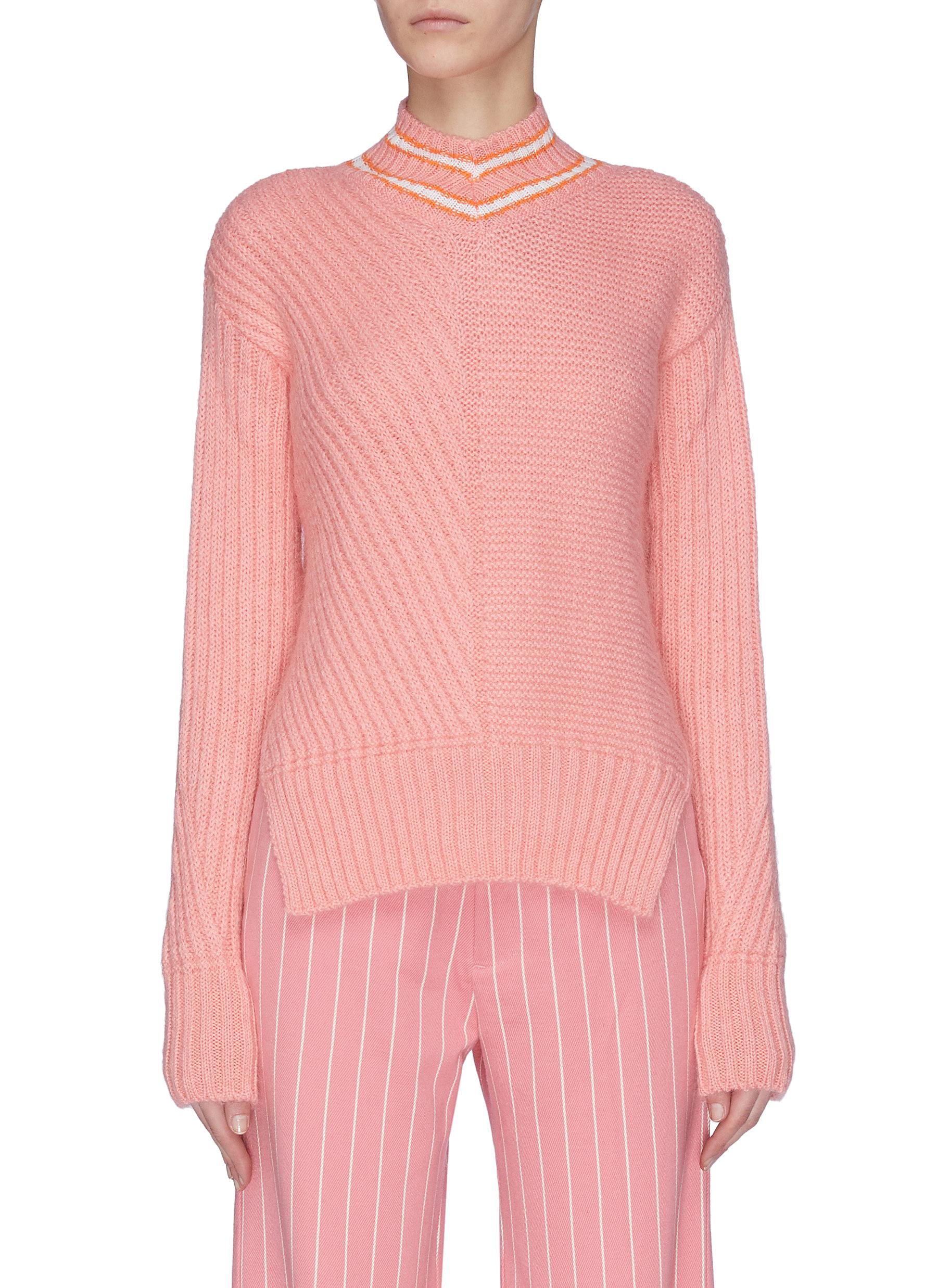 Buy Maggie Marilyn Knitwear 'A Stitch in Time' contrast stitch stripe collar sweater