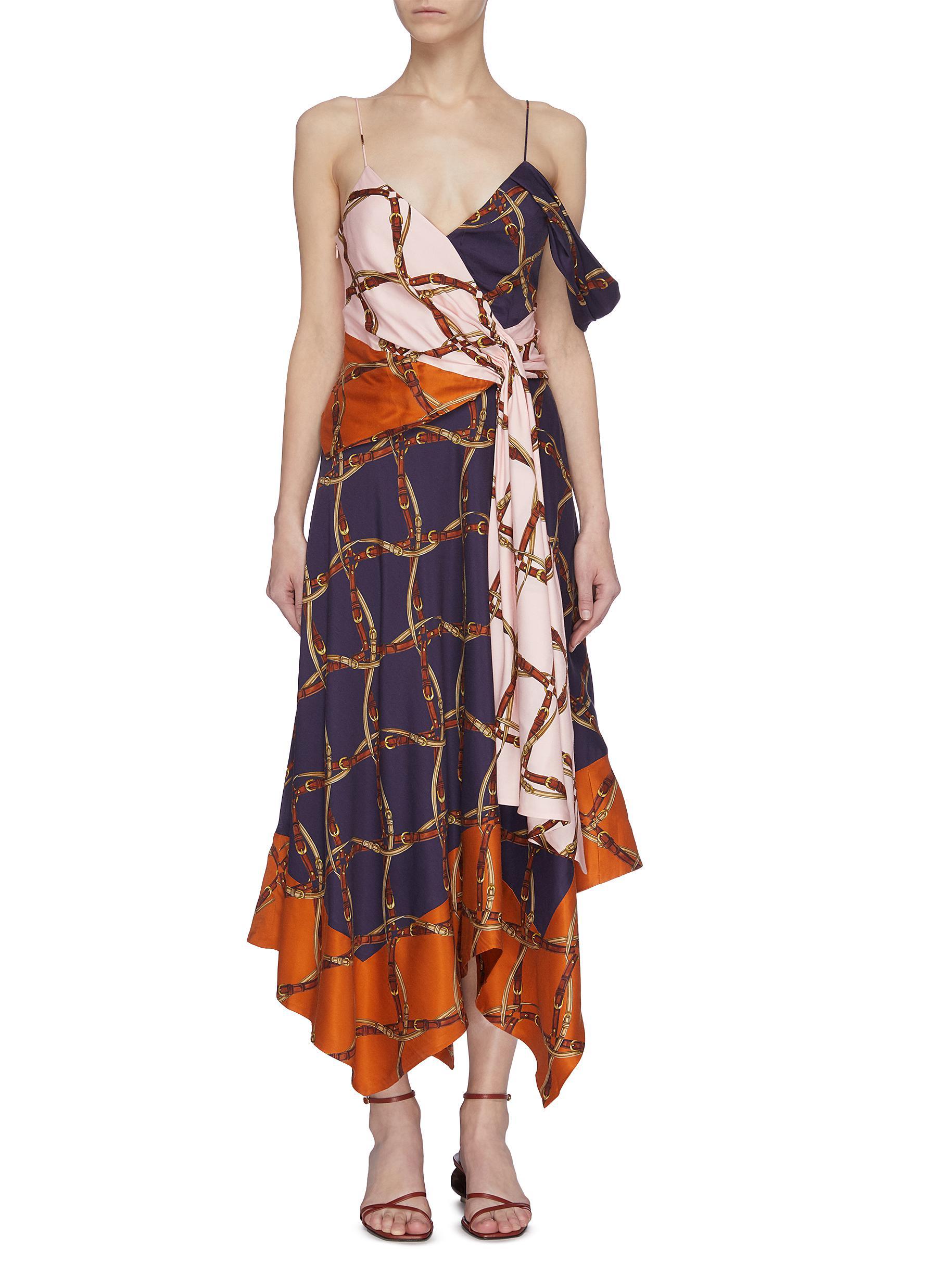 shop Jonathan Simkhai Saddle print asymmetric dress online