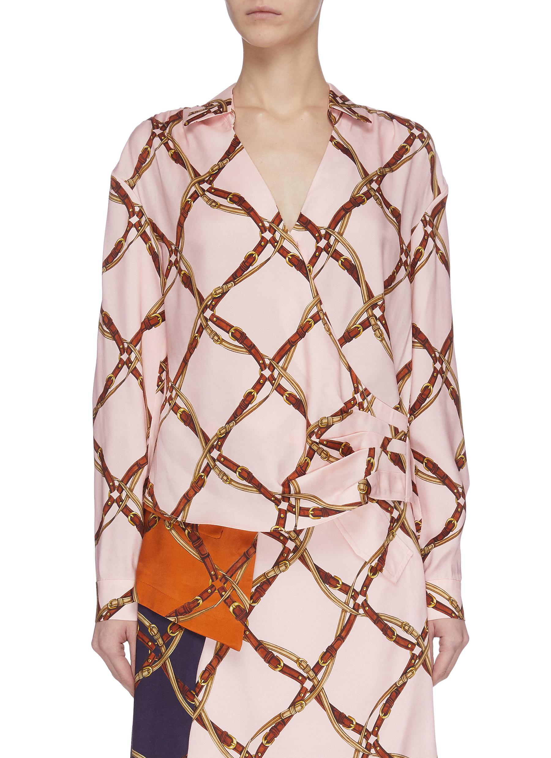 shop Jonathan Simkhai Saddle print wrap blouse online