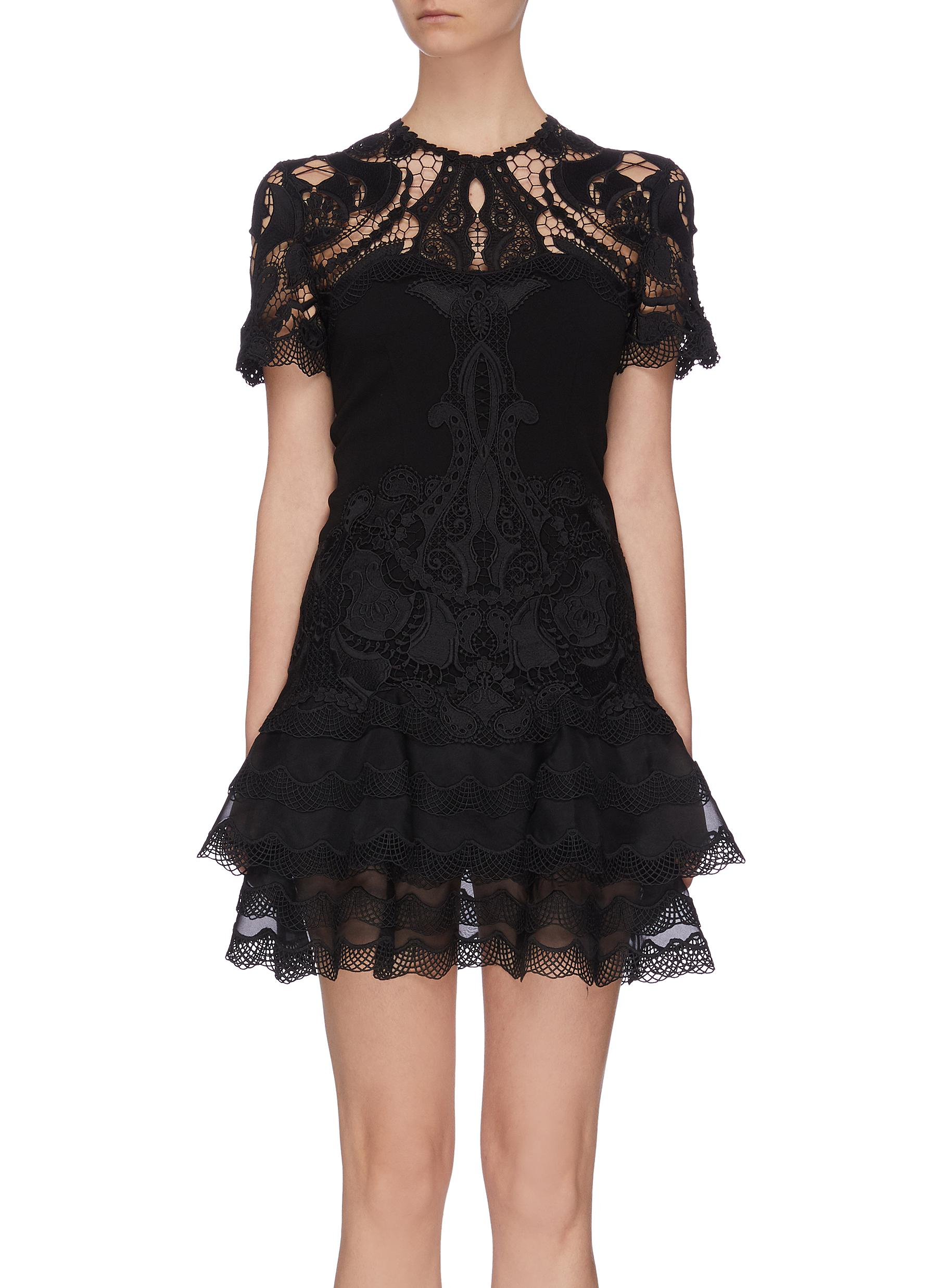 shop Jonathan Simkhai Lace applique panelled mini tee dress online