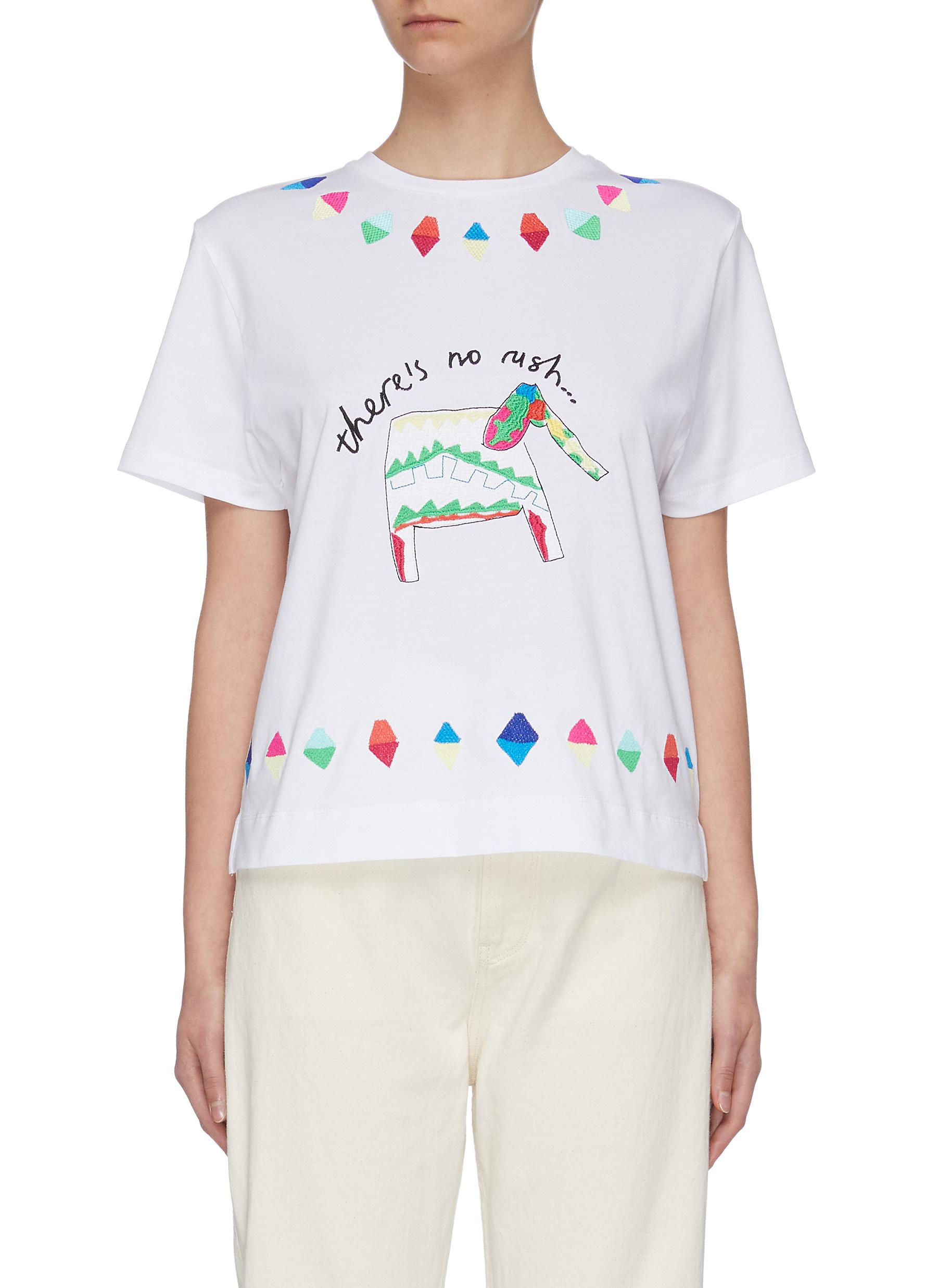 shop Mira Mikati Elephant embroidered T-shirt online