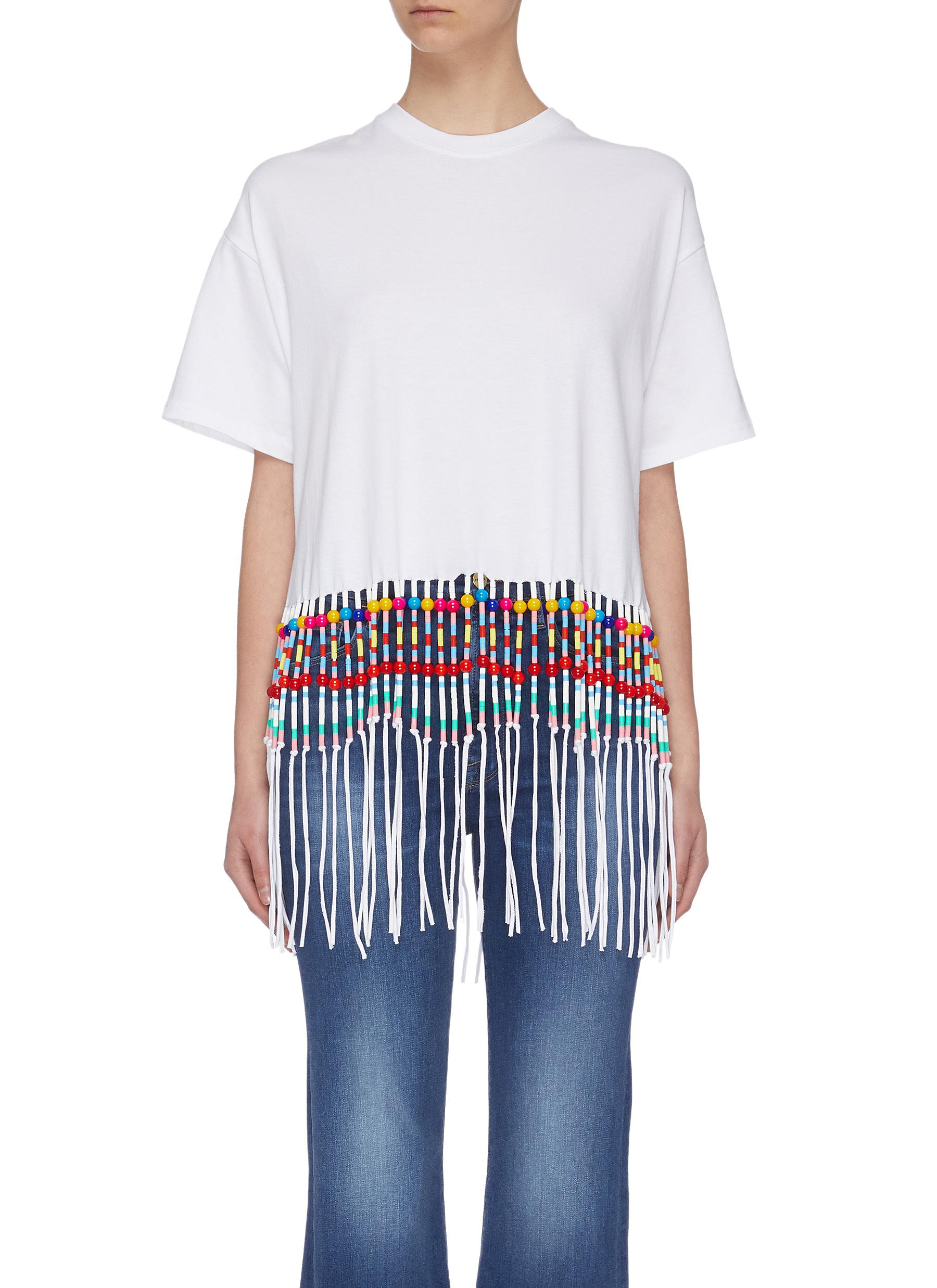 shop Mira Mikati Beaded fringe hem T-shirt online
