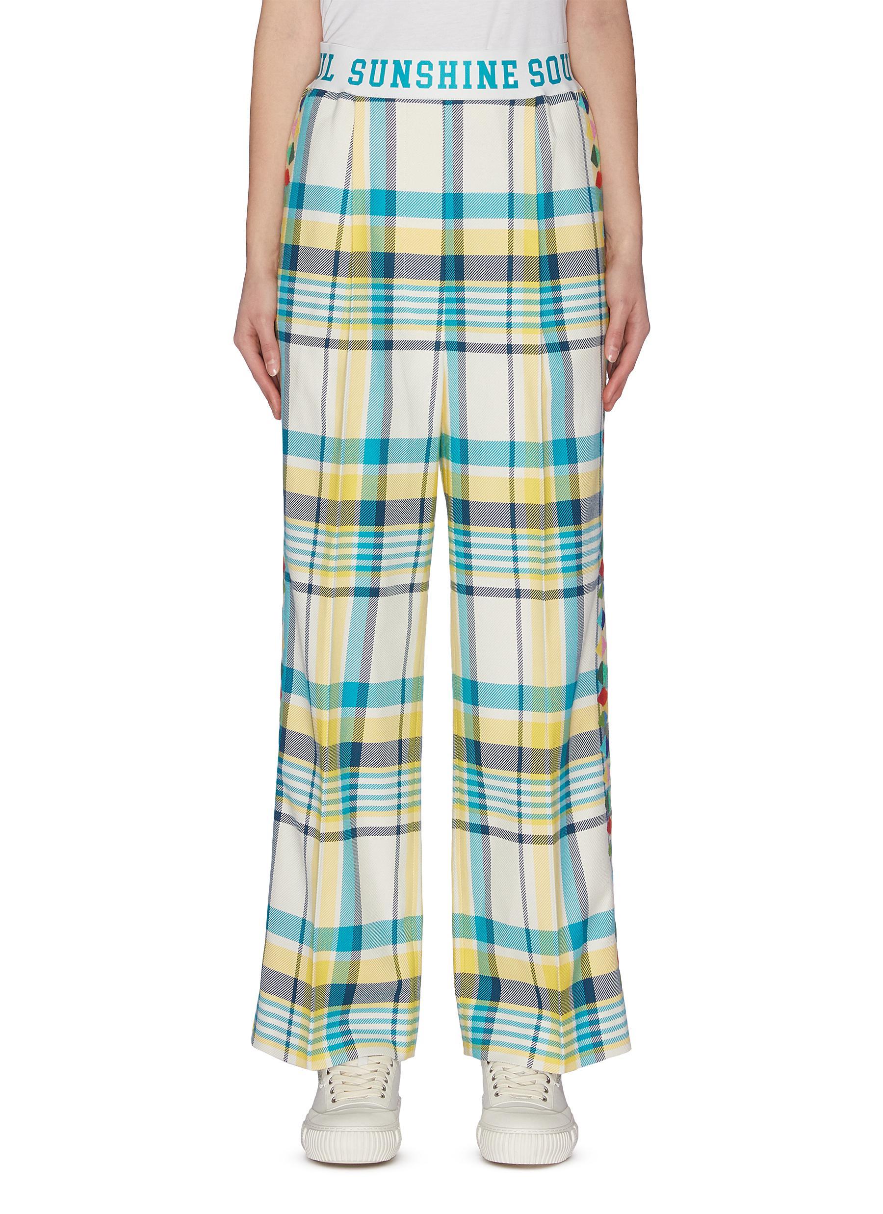 shop Mira Mikati Slogan print Waistband Check Plaid Wide Leg Pants online