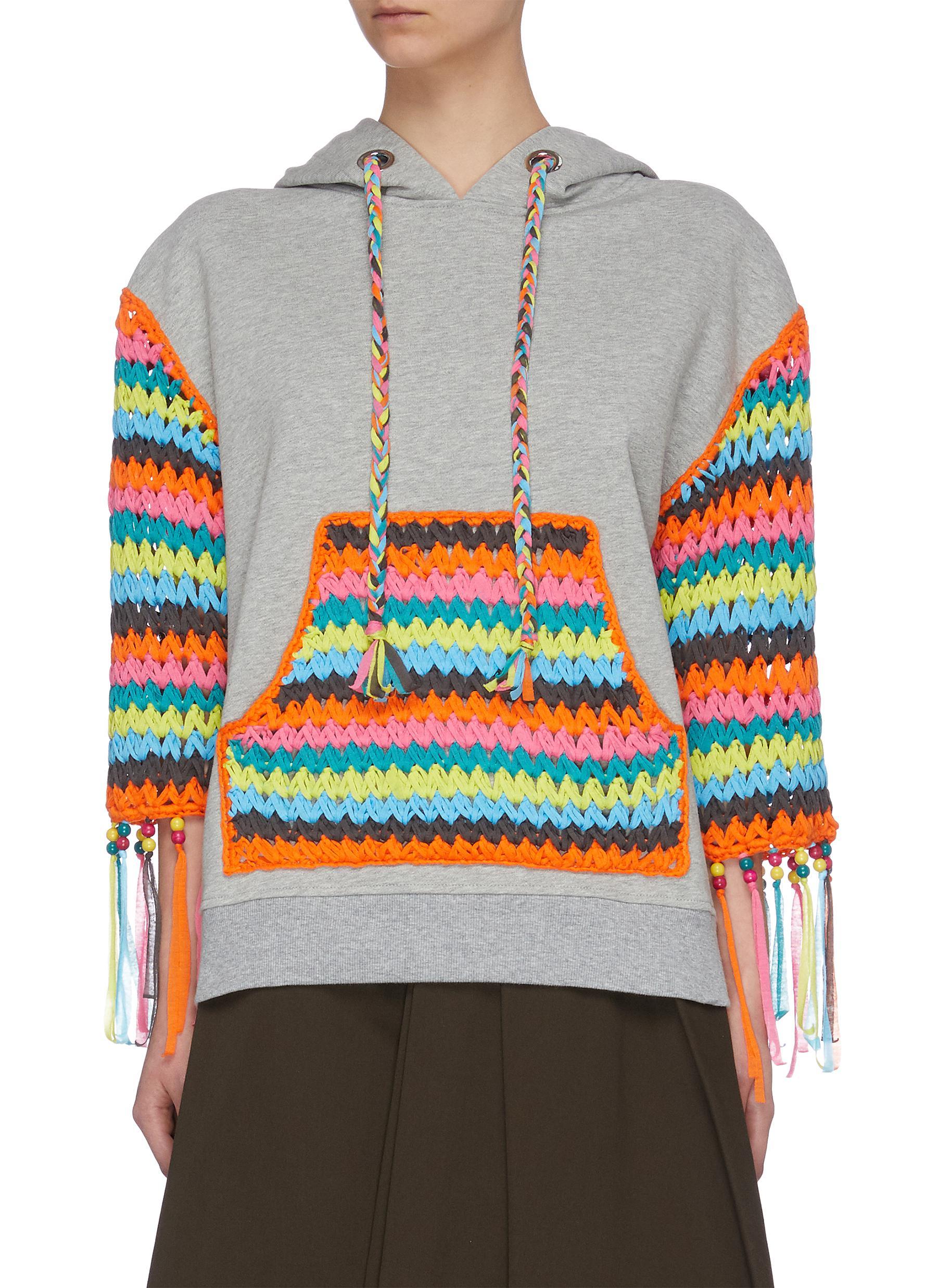 Buy Mira Mikati Tops 'Sunshine' hand knit panel hoodie