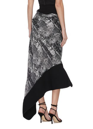 Back View - Click To Enlarge - MATICEVSKI - 'Recognise' graphic print contrast hem asymmetric skirt