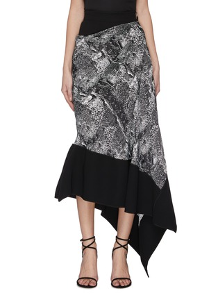 Main View - Click To Enlarge - MATICEVSKI - 'Recognise' graphic print contrast hem asymmetric skirt