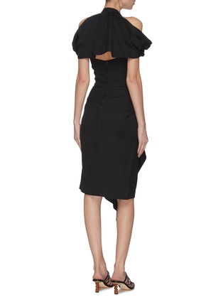 Back View - Click To Enlarge - MATICEVSKI - 'Chrysalis' asymmetric V-neck dress