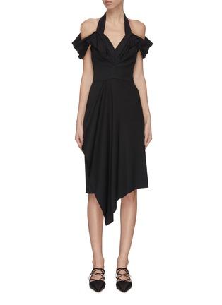 Main View - Click To Enlarge - MATICEVSKI - 'Chrysalis' asymmetric V-neck dress