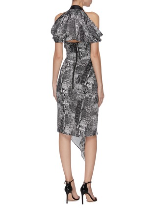 Back View - Click To Enlarge - MATICEVSKI - 'Chrysalis' graphic print V-neck dress