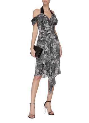 Figure View - Click To Enlarge - MATICEVSKI - 'Chrysalis' graphic print V-neck dress