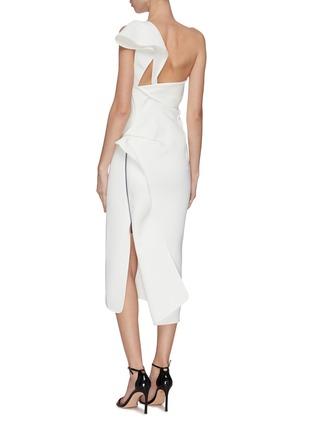 Back View - Click To Enlarge - MATICEVSKI - 'Atomised' drape one shoulder midi dress