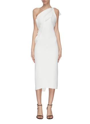 Main View - Click To Enlarge - MATICEVSKI - 'Atomised' drape one shoulder midi dress