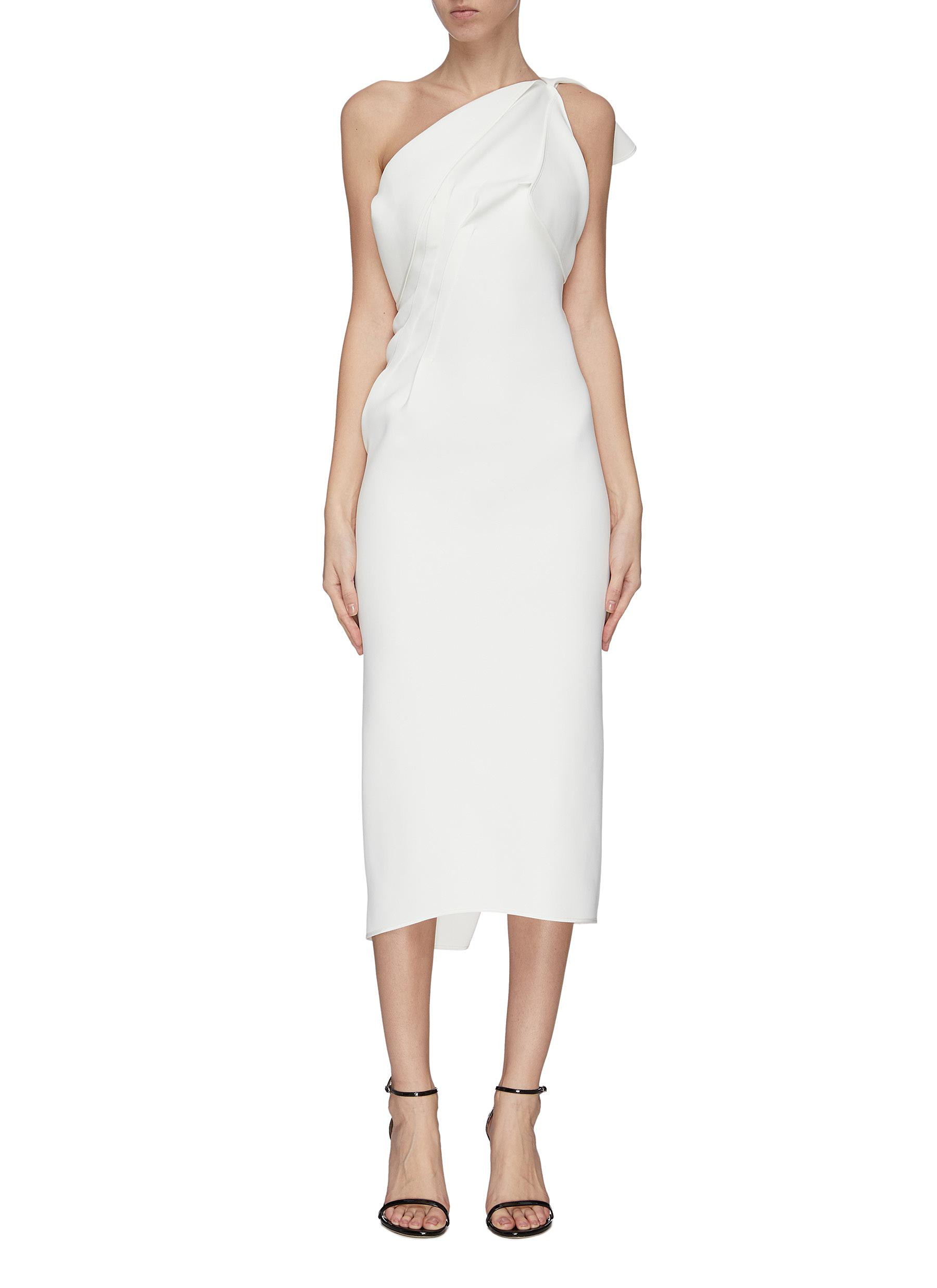 Buy Maticevski Dresses 'Atomised' drape one shoulder midi dress