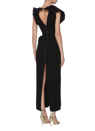 Back View - Click To Enlarge - MATICEVSKI - 'Insecta' ruffle V-neck midi dress