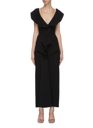 Main View - Click To Enlarge - MATICEVSKI - 'Insecta' ruffle V-neck midi dress