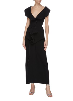 Figure View - Click To Enlarge - MATICEVSKI - 'Insecta' ruffle V-neck midi dress