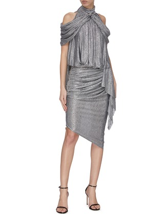 Figure View - Click To Enlarge - MATICEVSKI - 'Raining' drape asymmetric skirt