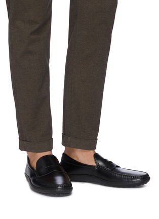 Figure View - Click To Enlarge - TOD'S - 'Gomma' leather penny loafers