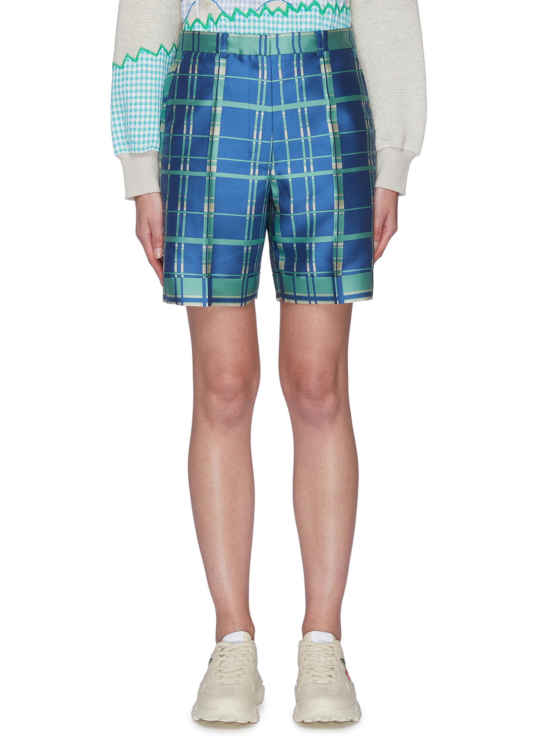 shop Mira Mikati Check print tailored shorts online