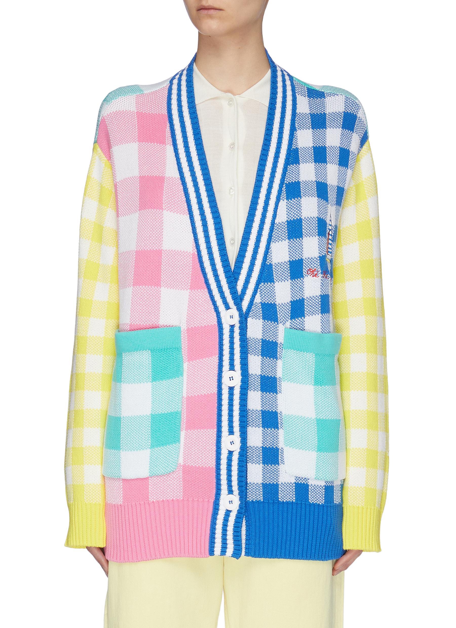 shop Mira Mikati Panel Gingham Check Cardigan online
