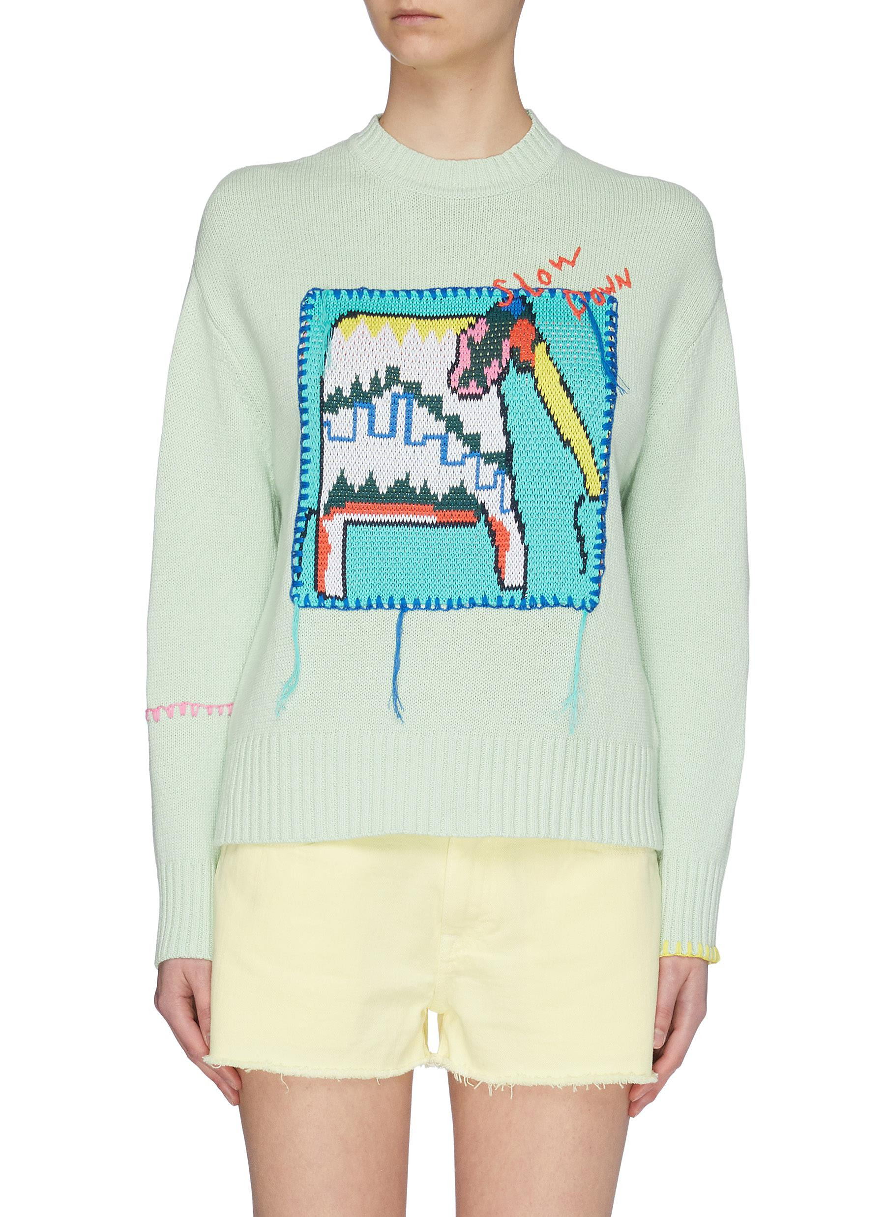 shop Mira Mikati Elephant Patch Sweater online
