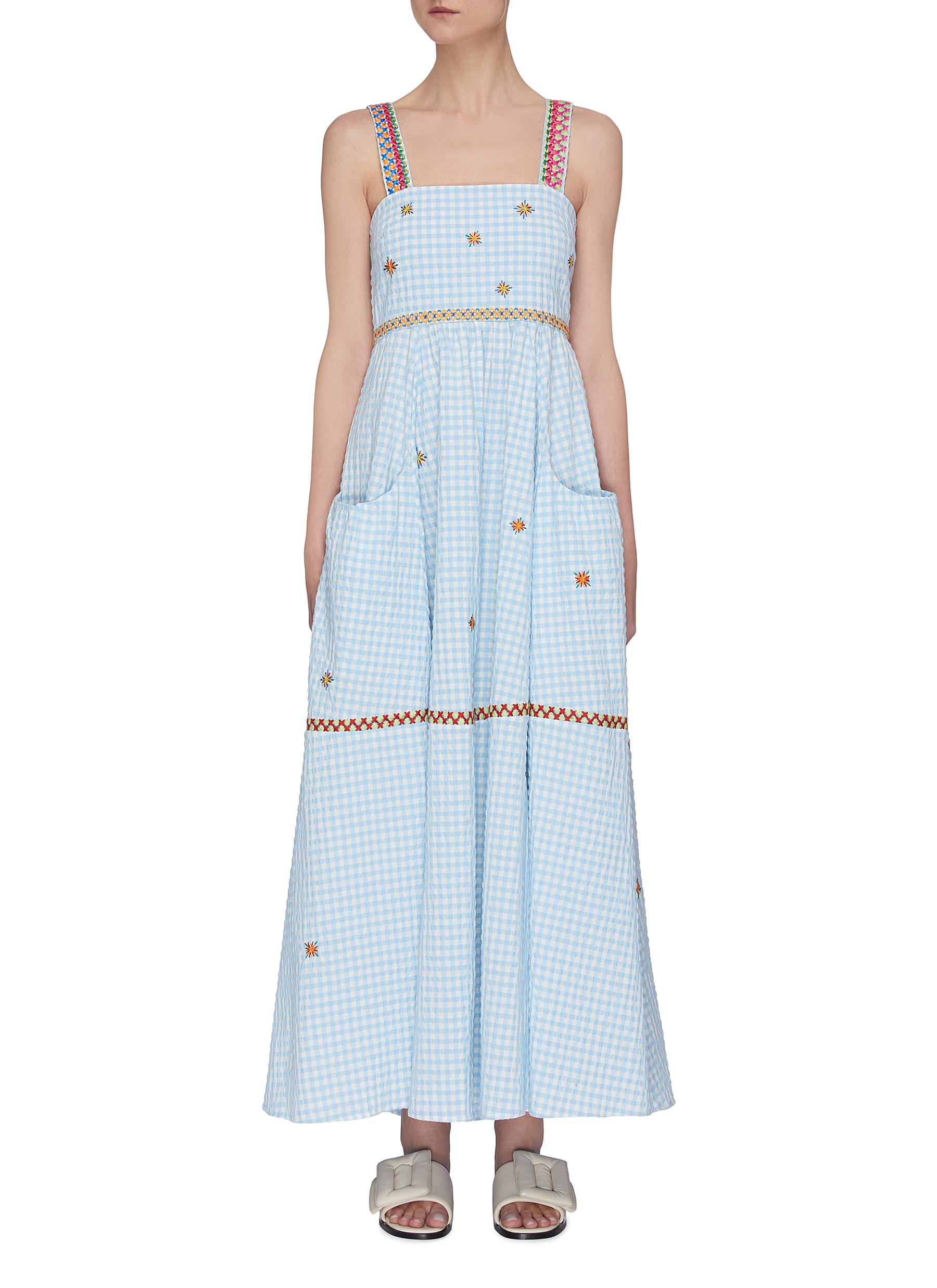 shop Mira Mikati Gingham Print Embroidered Cami Dress online