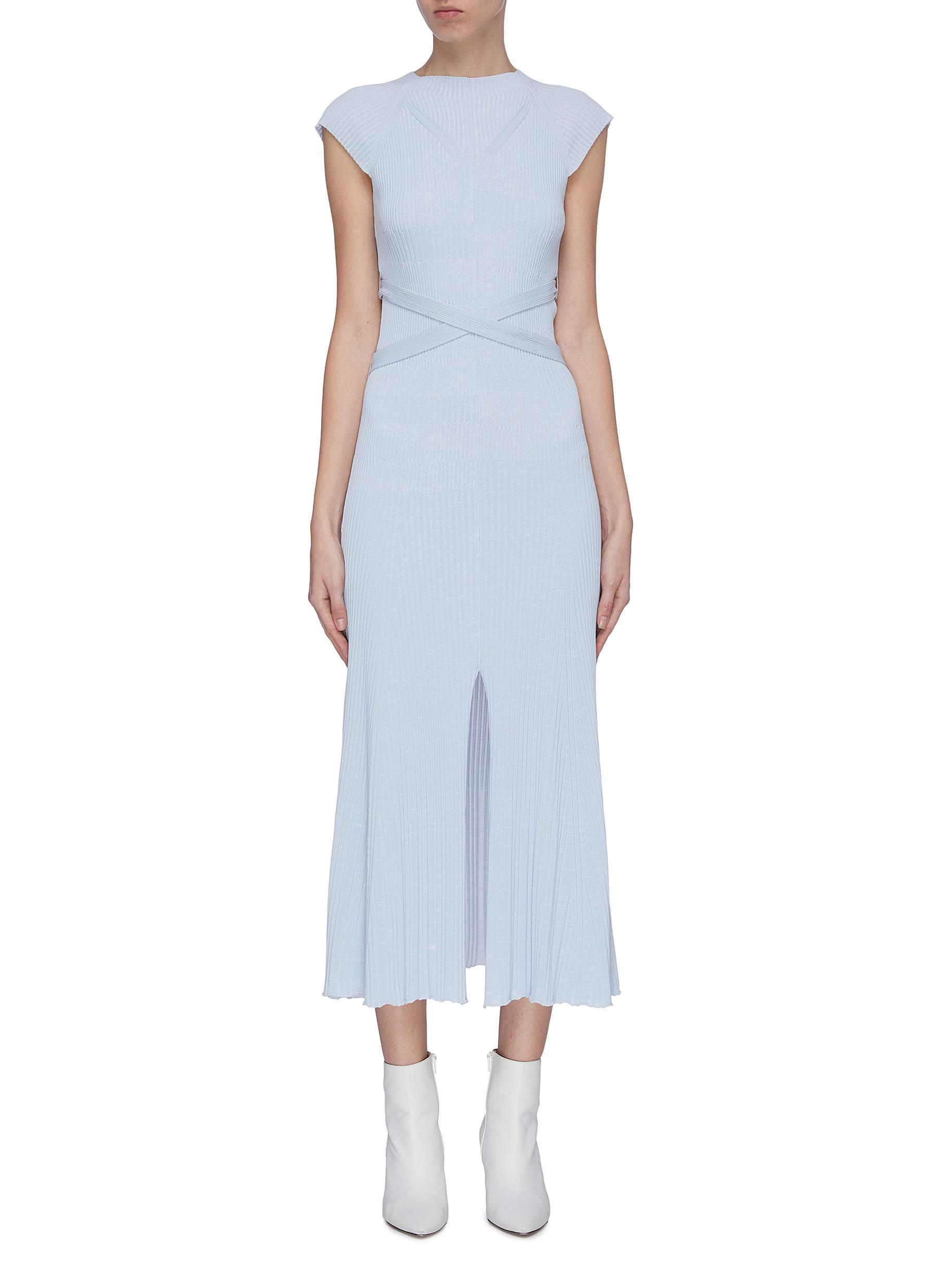shop Mrz 'Abito Craterino Smanicato' belted rib knit dress online