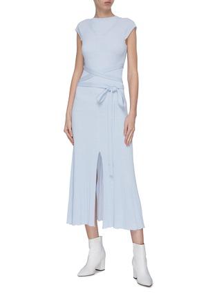Figure View - Click To Enlarge - MRZ - 'Abito Craterino Smanicato' belted rib knit dress