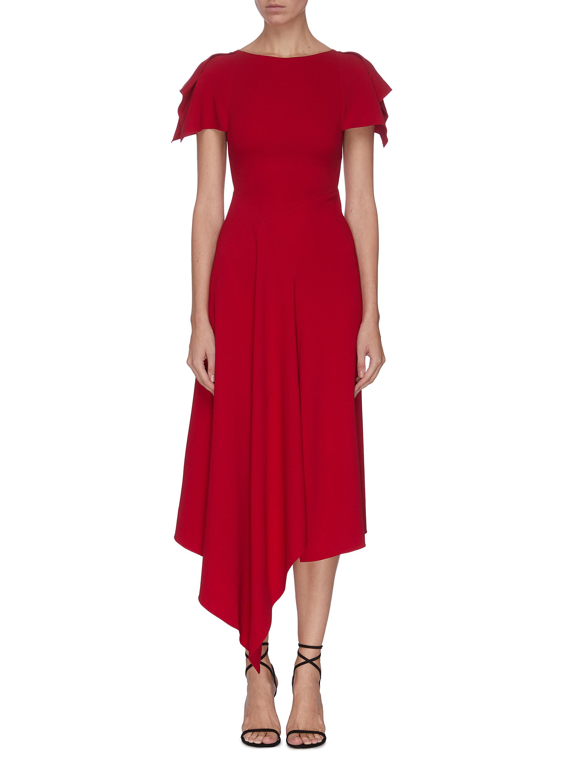 Buy Roland Mouret Dresses 'Warren' asymmetric drape ruffle dress