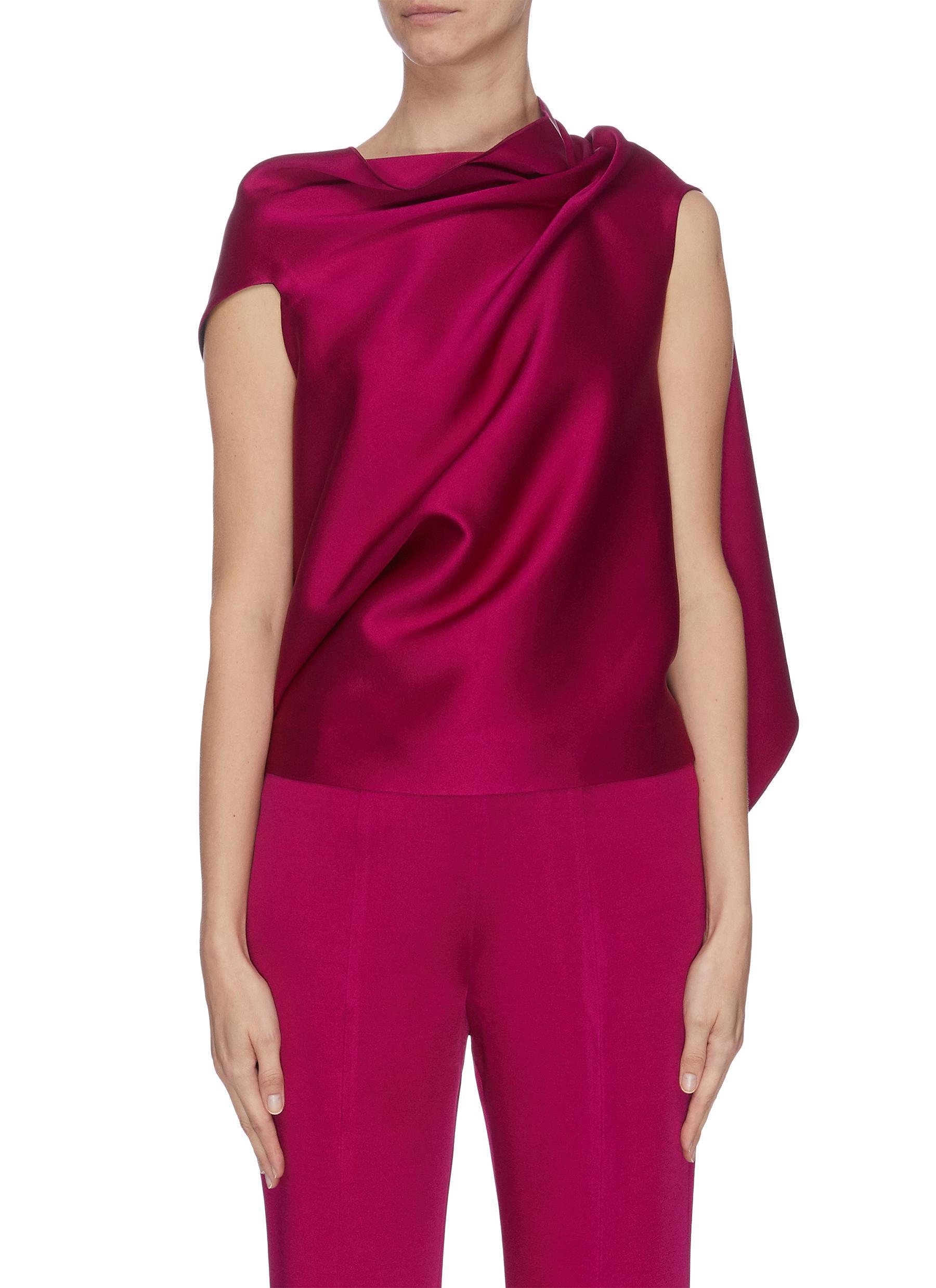 shop Roland Mouret 'Eugene' draped open back satin wrap sleeveless top online