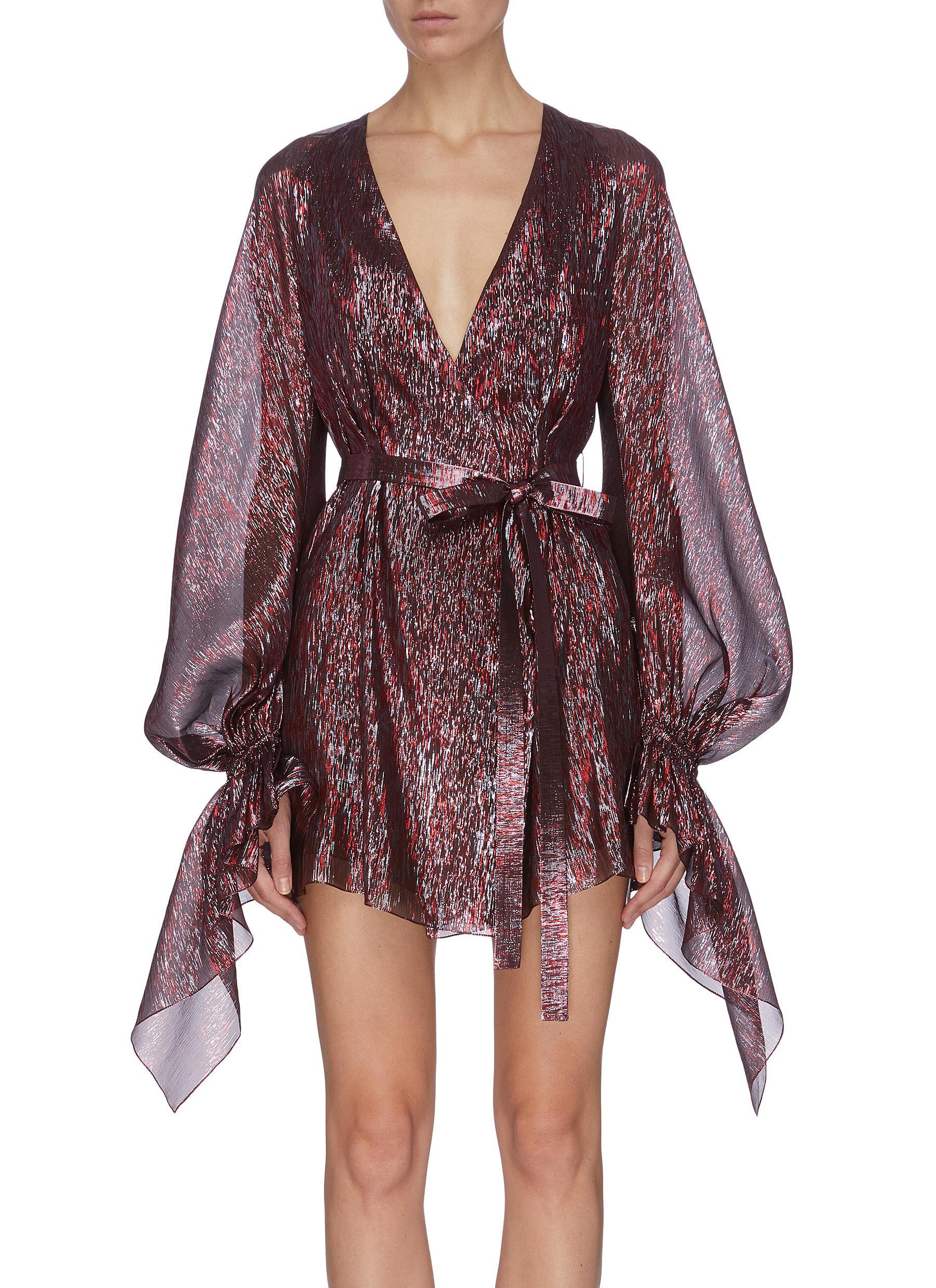 shop Roland Mouret 'Hamberg' belted metallic glitter sheer dress online