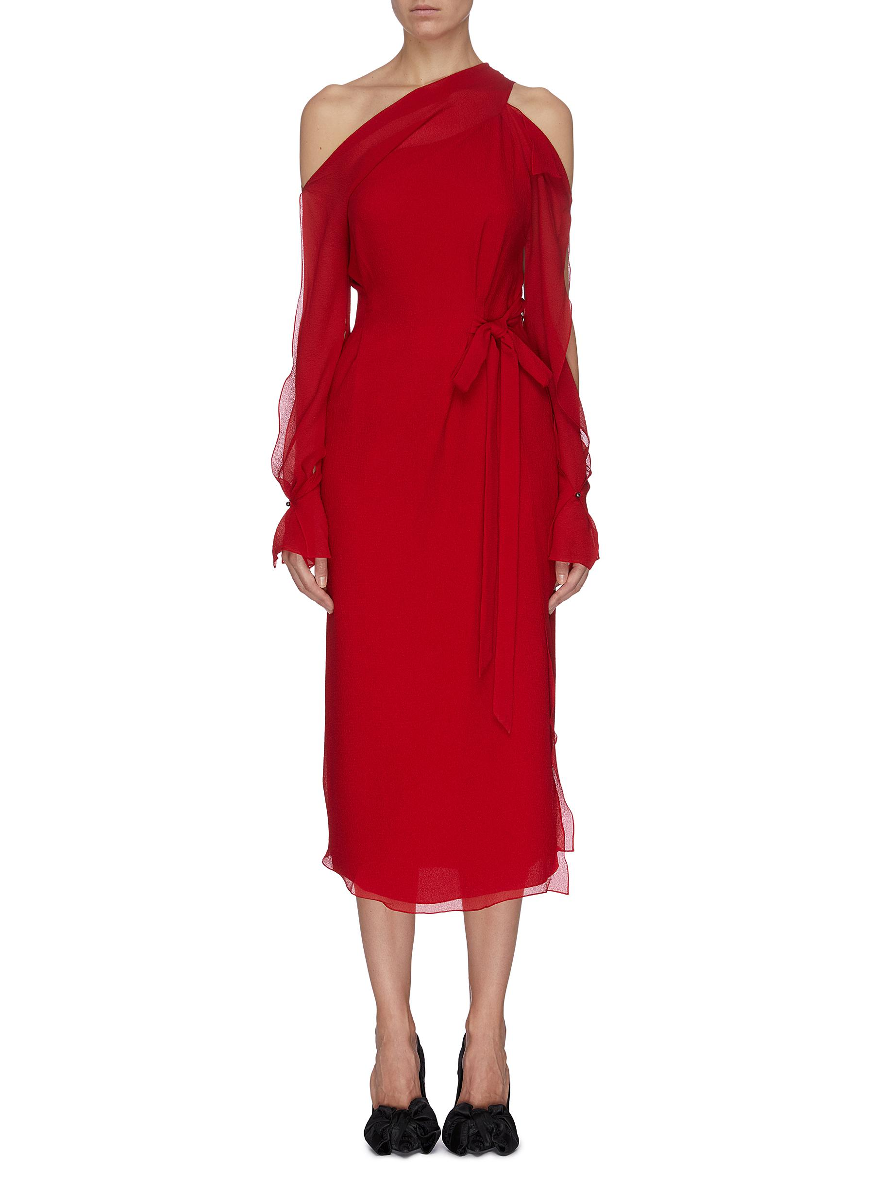 shop Roland Mouret 'Sabine' cutout waist tie off-shoulder silk crepe dress online