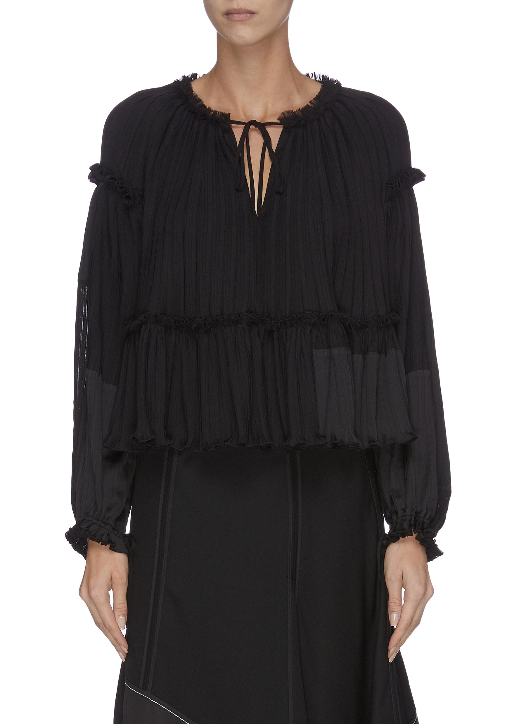 Neck tie gathered pleated ruched sleeve top by 3.1 Phillip Lim